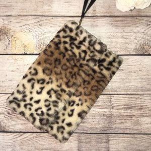 3/$23-Large Faux Fur Wristlet/Clutch